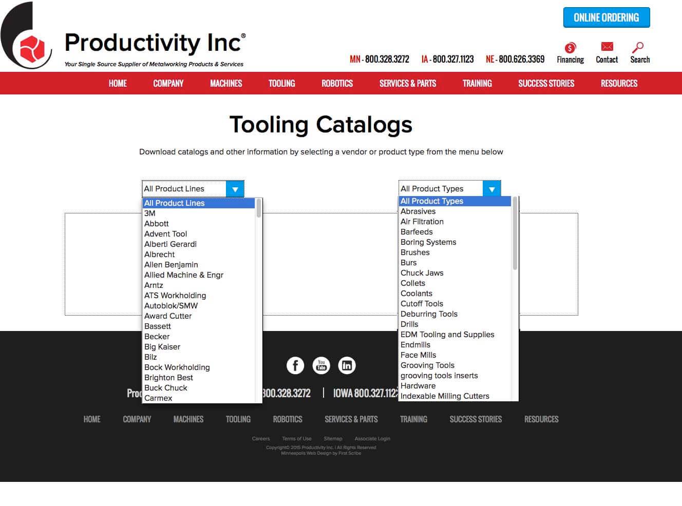 Productivity Inc website tooling catalog web page