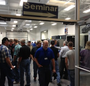 Attendees heading to a seminar at the Oktoberfest Tool Show