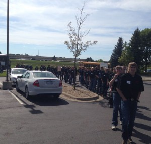 Line of attendees of the Oktoberfest Tool Show