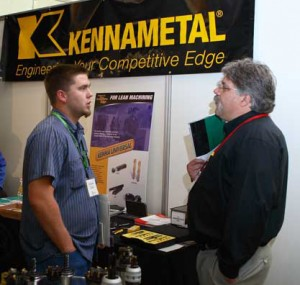 Man answering questions about Kennametal machine tools