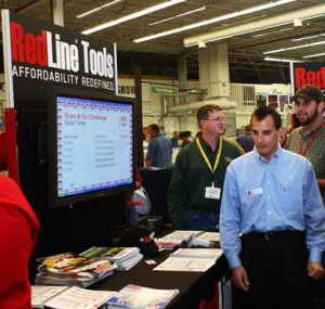 RedLine Tools booth with pamphlets
