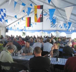 Oktoberfest attendees eating lunch