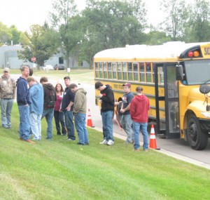 Bus arriving at the Oktoberfest Tool Show