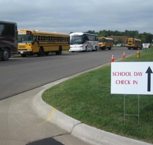Buses arriving at Student Day at the Oktoberfest Tool Show