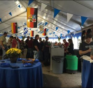 Attendees eat lunch at the Oktoberfest Tool Show