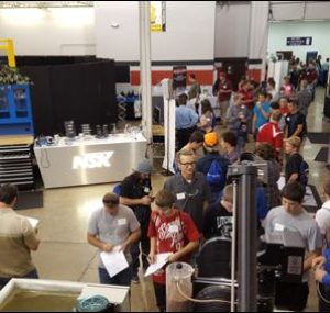 Line of people waiting to enter the Oktoberfest Tool Show