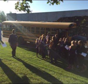 School bus leaving the Oktoberfest Tool Show