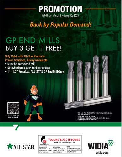 Widia GP End Mills - Buy 3 Get 1 Free!