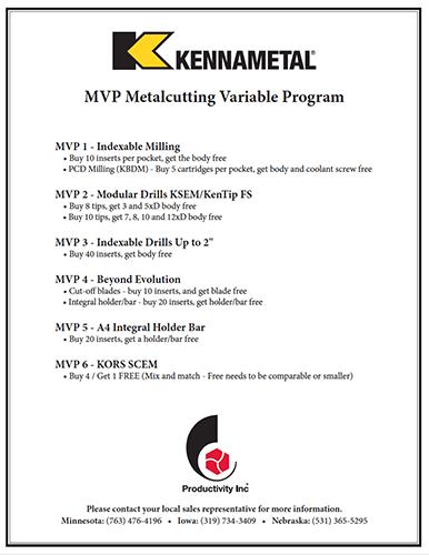 Kennametal MVP Metalcutting Variable Program